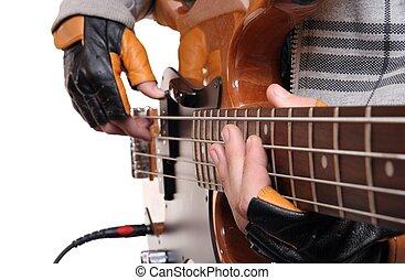Hands of a rock musician