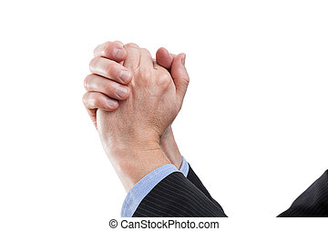 Hands of a winner - Hands in gesture of a victory, isolated...