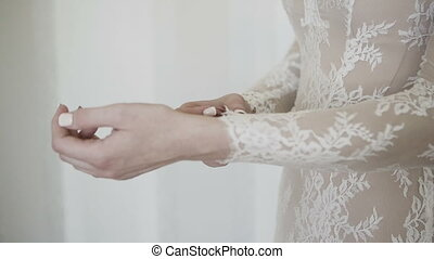 Hands of a woman. Excitement before the meeting