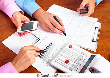 Hands of accountant business woman working in the office.