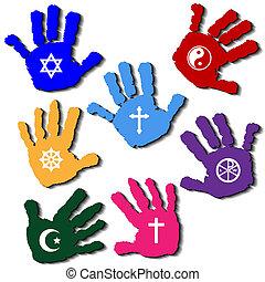 Hands of believers - Illustration of hands of believers with...