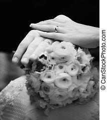 Hands of bride and groom