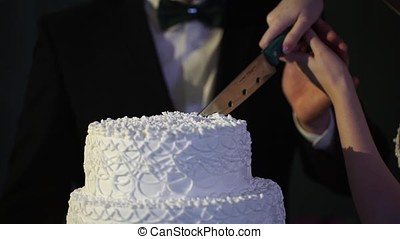 hands of bride and groom cut of a slice of a wedding cake....
