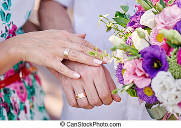 hands of bride and groom with rings and bouquet