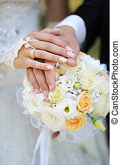 hands of bride and groom with rings