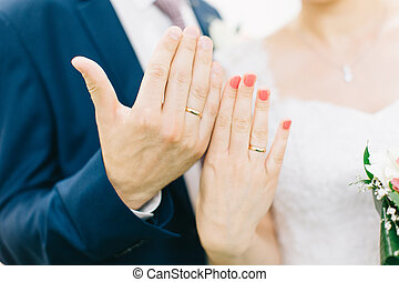Hands of bride and groom with rings.