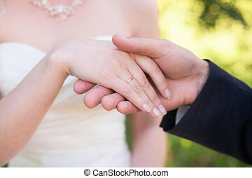 Hands of bride and groom with rings. Marriage concept