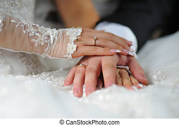 hands of bride and groom with rings on the dress
