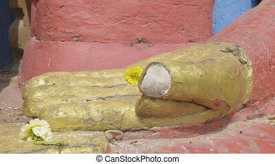 Hands of Buddha statue in the Swayambhunath temple....