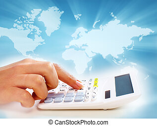 Hands of business people with calculator. - Hands of...