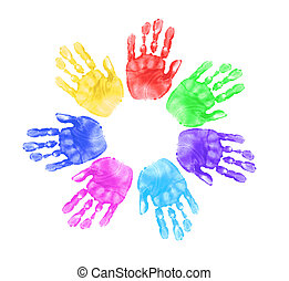 Daycare Preschool Handprints of Children In Multiple Colors