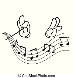 Hands of conductor - Hands of a conductor, drawn in cartoon...