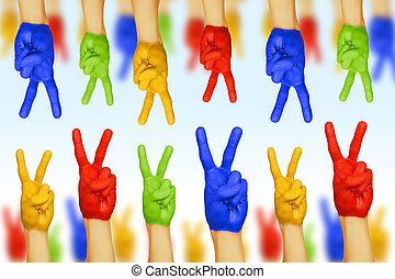hands of different colors. cultural and ethnic diversity
