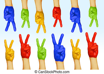 Stock Photos of hands of different colors. cultural and ...