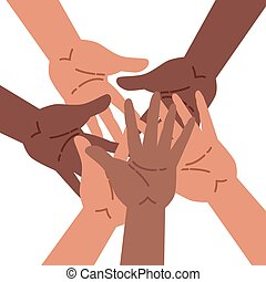 Hands of diverse group of people putting together