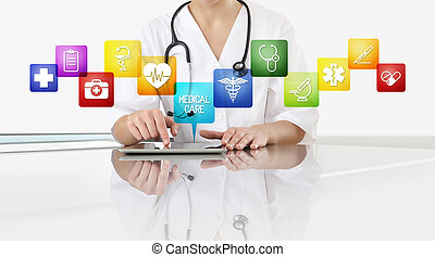 hands of doctor woman touch digital tablet at office desk with medical symbols icons isolated on white background