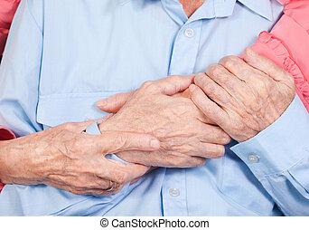 hands of elderly pair by CU, hugs