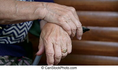 Hands of elderly woman close-up