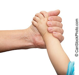 hands of father and son on a white background