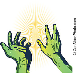 Hands of fear vector illustration