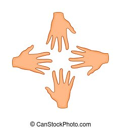 Hands of four people icon, cartoon style