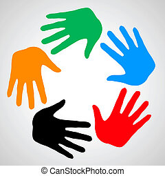 Hands of friendship. - Colorful hands as symbol friendship,...