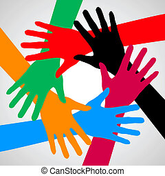 Hands of friendship. - Hands of friendship in different...