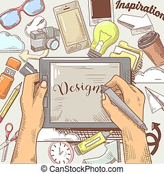 Hands of Graphic Designer with Stylus and Tablet. Hand Drawn...
