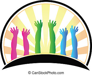 Hands of happy children logo