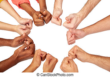 hands of international people showing thumbs up