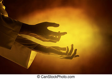 Hands of Jesus christ with open palm