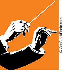 hands of leader on the orange background