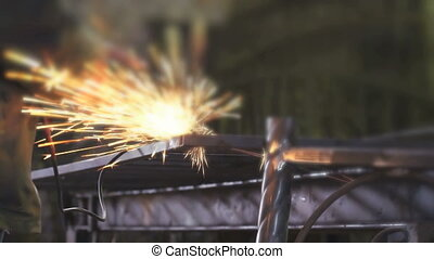 Hands of locksmith making steel partitions - Close-up of...