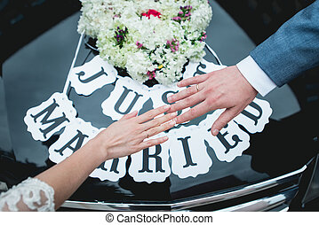 hands of Loving couple gently touching each other
