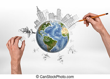 Hands of man drawing buildings and erasing trees on the globe.
