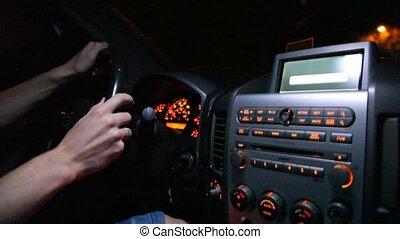 Hands of man on car rudder. - Hands of man on car rudder,...