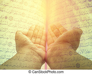 Hands of man praying on quran