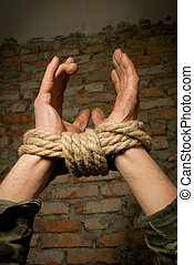 Hands of man tied up with rope