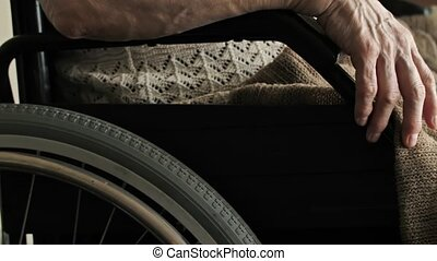 Hands of old woman on wheelchair