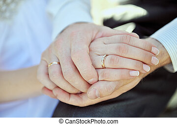 Hands of pair with a beautiful wedding ring