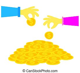 Hands of people and coins on a white background. Vector