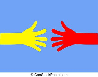Hands of people stretch to each other.