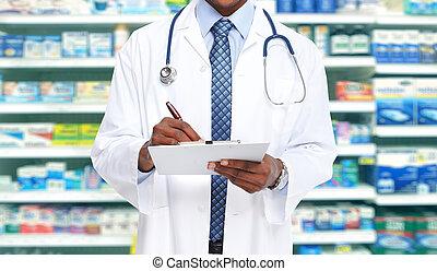 Hands of pharmacist man.