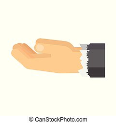 hands of poor man - Flat vector cartoon illustration....