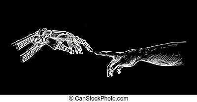 Hands of Robot and Human hands touching with fingers, Virtual Reality or Artificial Intelligence Technology Concept