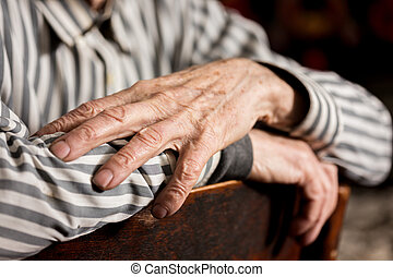 hands of senior man