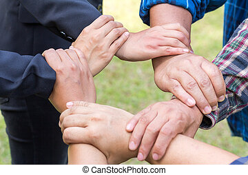 Hands of success startup business teamwork. Creative idea teamwork concept. Group of multiethnic diverse team