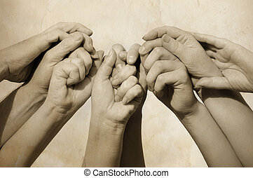Hands of team