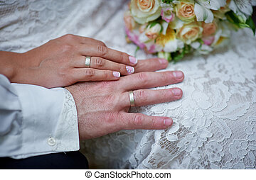 hands of the bride and groom with rings
