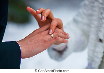 hands of the bride groom ring close-up at a wedding in Russia